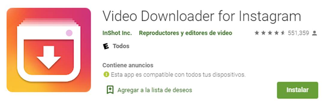 descargar video downloader for instagram