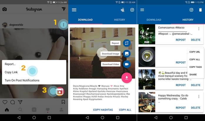 interfaz de aplicación para descargar vídeos en android video downloader for instagram