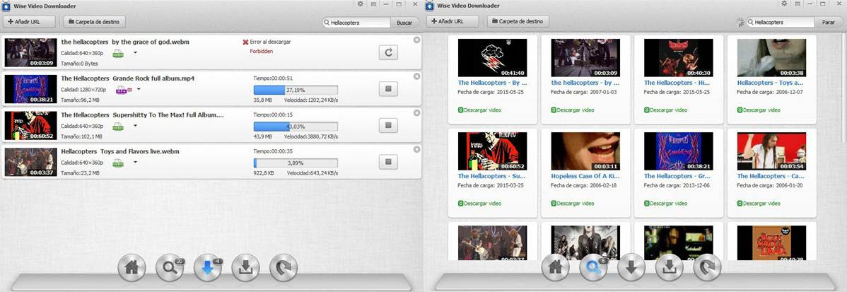 interfaz del programa wise video downloader