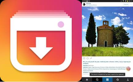 logo de video downloader for instagram e imagen de instagram