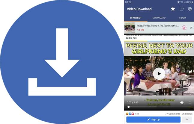 logo e interfaz de facebook video downloader